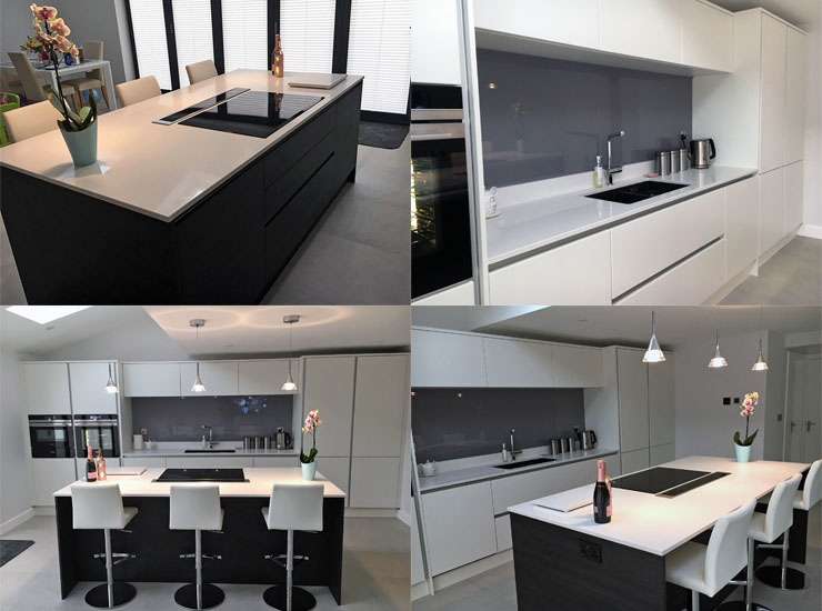 Quartz granite kitchen worktop, breakfast bar, island and undermount sink