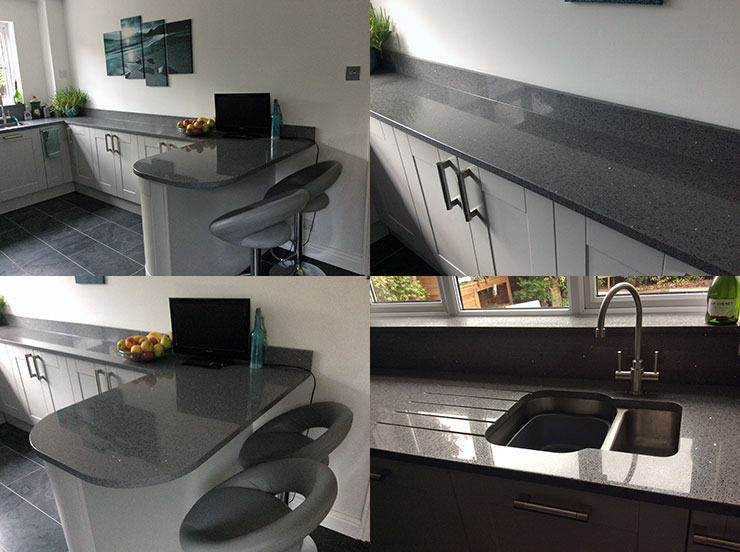 Quartz granite kitchen worktop and undermount sink