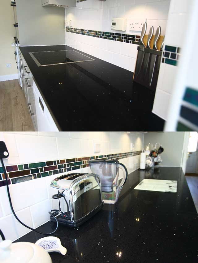 Quartz granite kitchen worktop in black