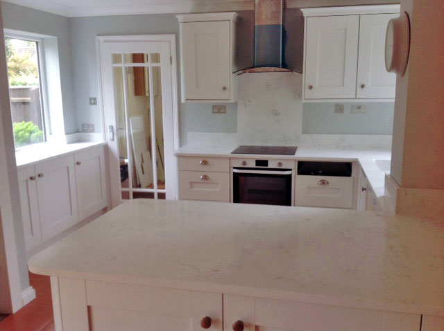 Quartz granite kitchen worktopin Bianco Carrara
