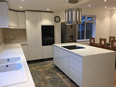 Quartz granite kitchen worktop and island